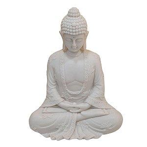 Escultura Buda Sidarta Meditação Pó de Mármore Branco 23cm