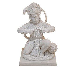 Escultura Hanuman Coração de Pó de Mármore Branco 20cm