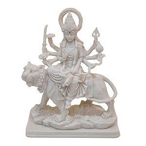 Escultura Durga de Pó de Mármore Branco 21cm