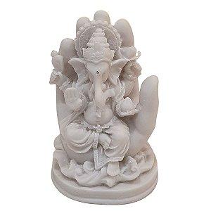 Escultura Ganesha na Mão de Pó de Mármore Branco 12cm
