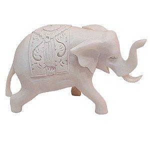 Escultura Elefante Indiano de Pó de Mármore Branco 10cm