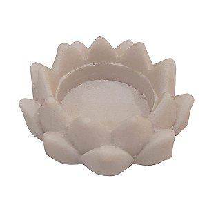 Porta Vela Flor de Lótus de Pó de Mármore Branco 8cm (Modelo 2)