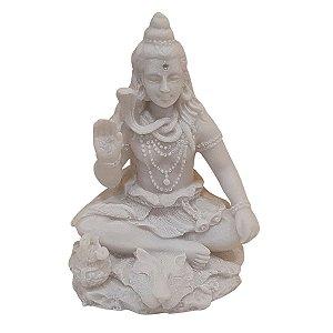 Escultura de Shiva de Pó de Mármore Branco 10cm