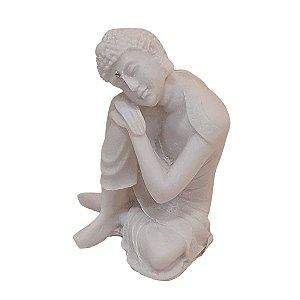 Escultura de Buda Sidarta de Pó de Mármore Branco 8cm