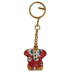Chaveiro Ganesha de Cerâmica Pintado Vermelho