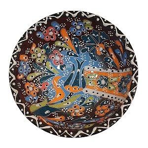 Bowl Turco Pintado de Cerâmica Marrom Estampado 12cm (Pinturas Diversas)