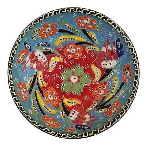 Bowl Turco Pintado de Cerâmica Azul Bebê Estampado 12cm (Pinturas Diversas)