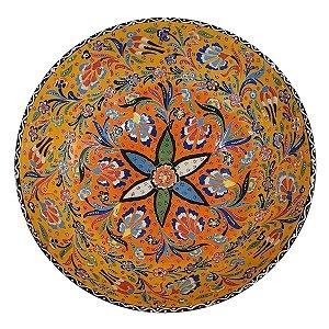 Centro de Mesa Turco Pintado de Cerâmica Amarelo Estampado 30cm (Pinturas Diversas)