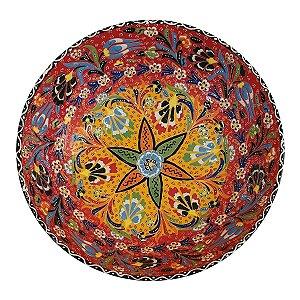 Centro de Mesa Turco Pintado de Cerâmica Vermelho Estampado 30cm (Pinturas Diversas)