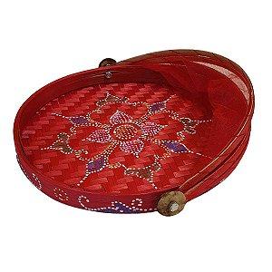 Cesto de Pão Bambu Redondo Vermelho 30cm (Cores Variadas)