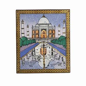 Caixa Decorativa Madeira Pintada Taj Mahal 21cm