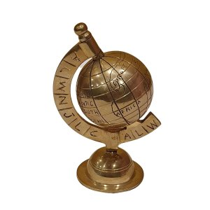Globo Terrestre de Metal Dourado 11cm
