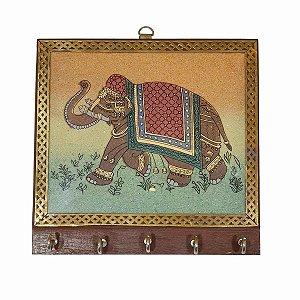 Porta Chaves Madeira Pintado 5 ganchos Elefante 18cm