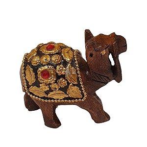 Escultura de Camelo Indiano de Madeira com Metal Dourado 9cm