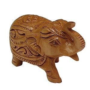 Escultura de Elefante Indiano de Madeira Suar Esculpido 11cm