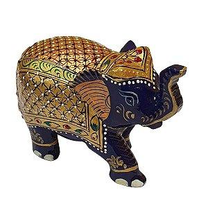 Elefante Indiano Pintado de Resina Azul Marinho 13cm