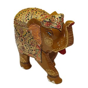 Elefante Indiano Pintado de Resina Mostarda 20cm