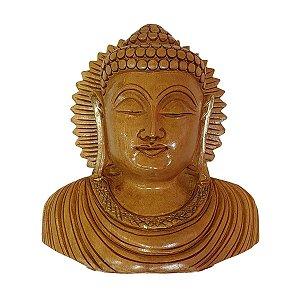 Escultura de Cabeça de Buda de Madeira Suar 15,5cm