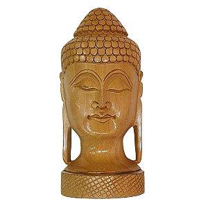 Escultura de Cabeça de Buda de Madeira Suar Redonda 15cm
