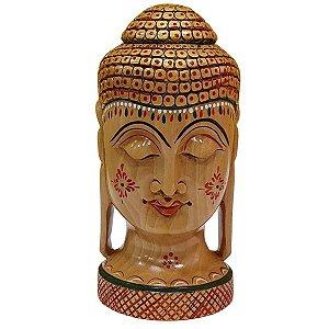 Escultura de Cabeça de Buda Pintada de Madeira Suar Redonda 15cm