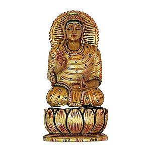 Escultura de Buda Sidarta Pintado de Madeira Suar 16cm