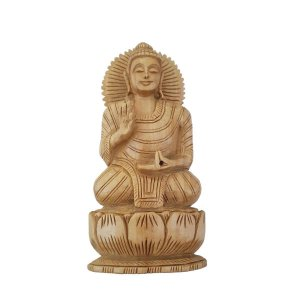 Escultura de Buda Sidarta de Madeira Suar Mudra Dar e Receber 15cm