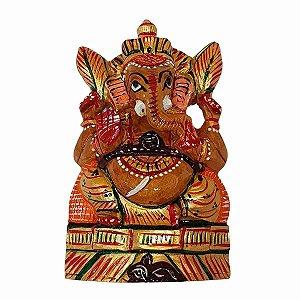 Escultura de Ganesha Pintado de Madeira Suar 13cm