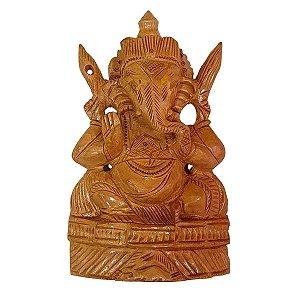Escultura de Ganesha de Madeira Suar Crua 17cm