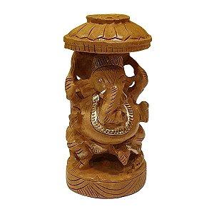 Escultura de Ganesha de Madeira Suar Redondo 13cm