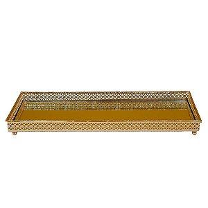 Bandeja Retangular de Metal Espelhada Dourada 30cm