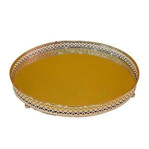 Bandeja Redonda de Metal Espelhada Dourada 20cm