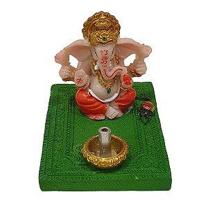 Incensário Vareta Ganesha de Resina Verde 5cm