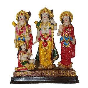 Escultura Tridevi de Resina Pintada