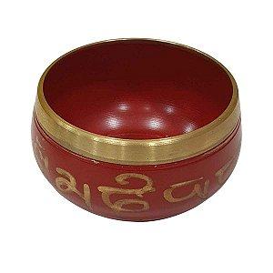 Sino Tibetano com Bastão de Madeira Liga de 7 Metais Vermelho 8cm