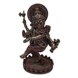 Escultura de Ganesha Dançante de Resina Colorido 20cm