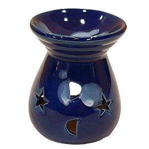 Difusor de Essências de Cerâmica Estrelas Azul Royal 8cm