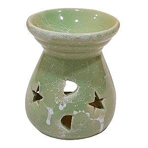 Difusor de Essências de Cerâmica Estrelas Verde 8cm