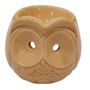 Difusor de Essências de Cerâmica Coruja Bege 8cm