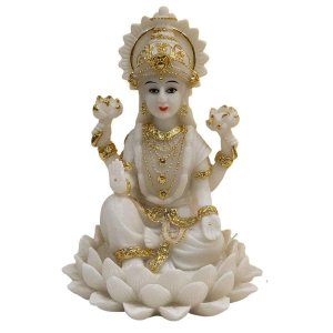 Escultura Lakshmi de Resina Branca com Dourado 18cm
