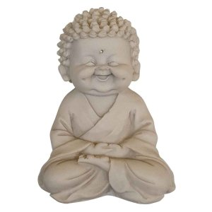 Estátua de Baby Buda Mudra Meditação de Pó de Mármore Branco 14cm