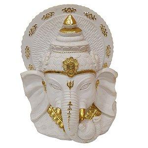Escultura Cabeça de Ganesha de Resina Branca e Dourada 28cm