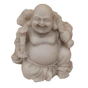 Mini Escultura de Buda Hotei Saco da Fortuna de Pó de Mármore Branca 6cm