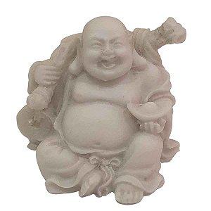 Mini Escultura de Buda Hotei Saco da Fortuna com Tigela de Pó de Mármore Branca 6cm