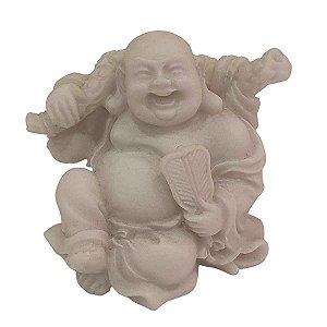 Mini Escultura de Buda Hotei Saco da Fortuna com Leque de Pó de Mármore Branca 6cm