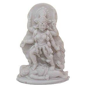 Escultura Deusa Kali de Pó de Mármore Branca 11cm