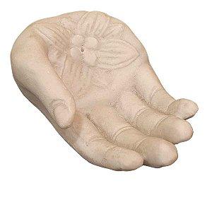 Incensário Mão Flor de Lótus de Pó de Mármore Branco 16cm