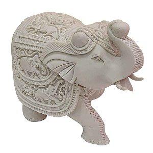 Escultura Elefante Indiano de Pó de Mármore Branca 25cm