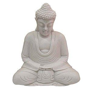 Escultura de Buda Sidarta Mudra Meditação de Pó de Mármore Branca 30cm