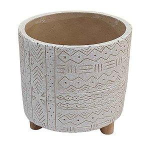 Vaso de Cerâmica Indígena Branco 14cm