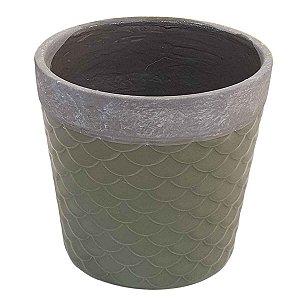 Vaso de Cerâmica Escama Verde 16cm